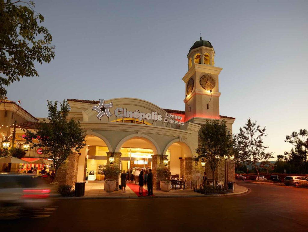 Enjoying a movie at Cinepolis cinema at night shown here is one of the best thigns to do in Westlake Village