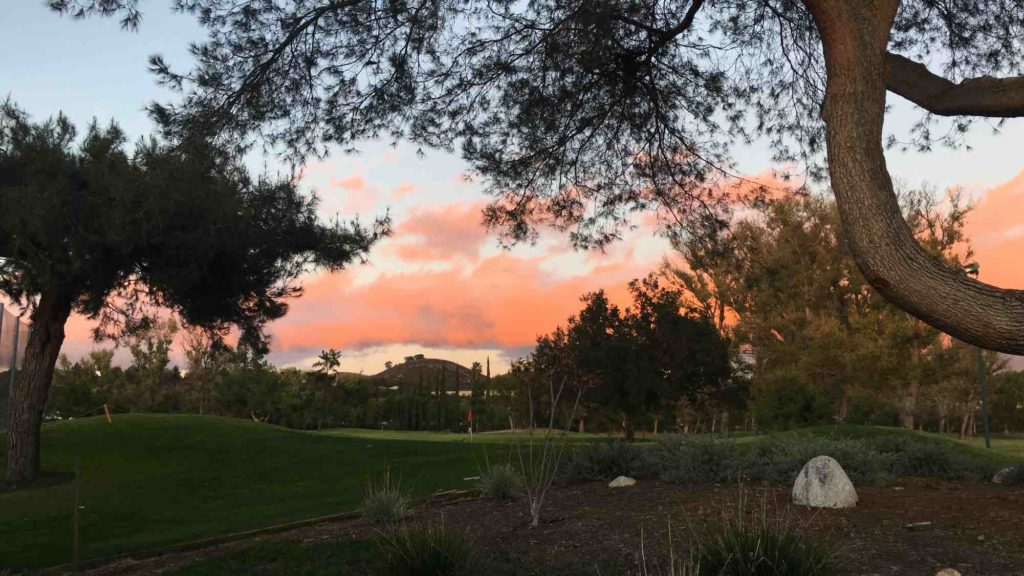 SUnset over the Westlake Village Golf Course