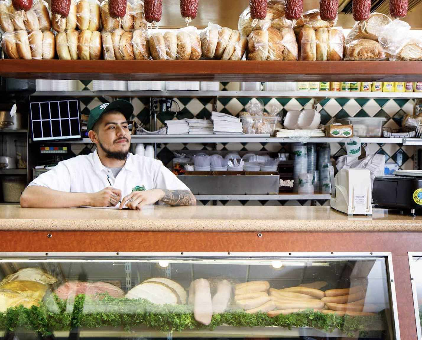 Brents Deli with server behind the counter