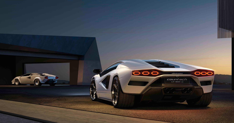 Lamborghini Countach luxury hypercar at night on road